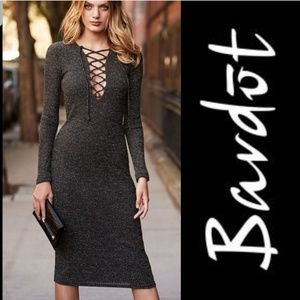 Bardot sweater dress black and gold shimmer